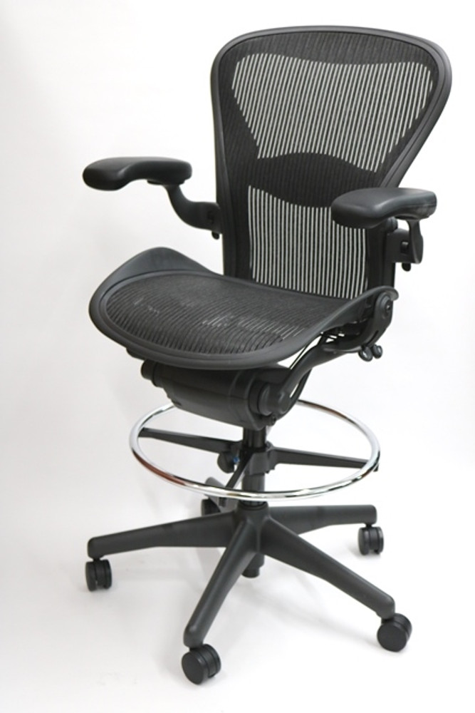 herman miller aeron drafting stool size b chair fully featured - Herman Miller Aeron Chair