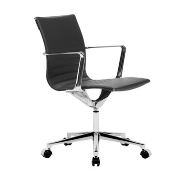 Fine Mod Em Office Chair Mid Back, Black