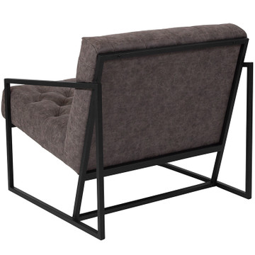 Lemoderno Madison Series Retro GrayLeather Tufted Lounge Chair