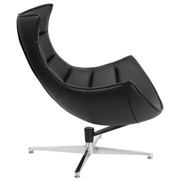 Lemoderno Bomber Black Leather Swivel Cocoon Chair