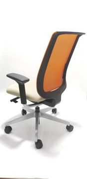 Steelcase Orange Mesh Back Reply Chair with Beige Fabric Seat