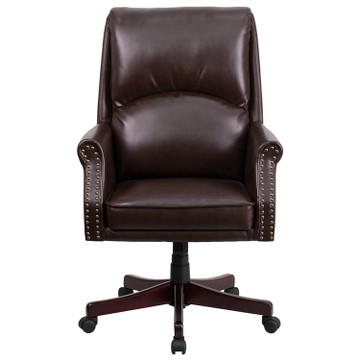 ... Flash Furniture High Back Pillow Back Brown Leather Executive Swivel  Chair With Arms