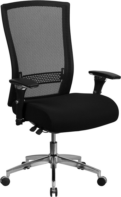 Flash Furniture HERCULES Series 24/7 Intensive Use 300 lb. Rated Black Mesh Multifunction Executive Swivel Chair with Seat Slider 1