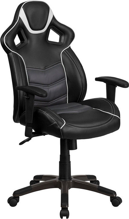 Flash Furniture High Back Storm Gray Executive Gaming-Racing Swivel Chair with Comfort Coil Seat Springs and Gray Base 1