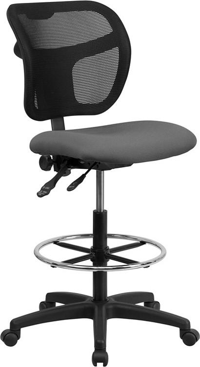 Flash Furniture Mid-Back Gray Mesh Drafting Chair 1