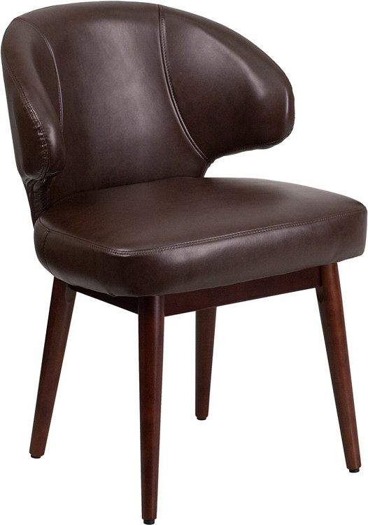 Flash Furniture Comfort Back Series Brown Leather Side Reception Chair with Walnut Legs