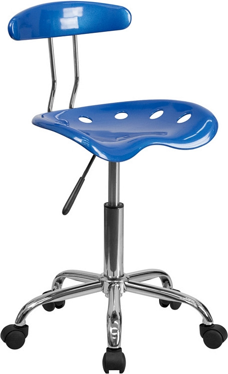 Flash Furniture Vibrant Bright Blue and Chrome Swivel Task Chair with Tractor Seat