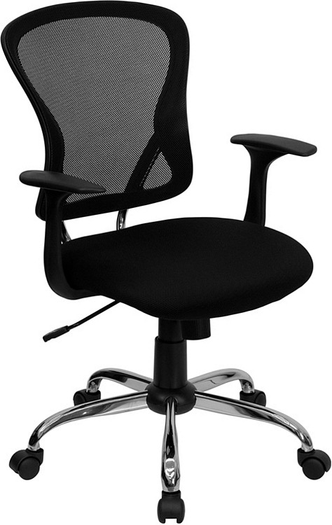 Flash Furniture Mid-Back Black Mesh Swivel Task Chair with Chrome Base and Arms 3