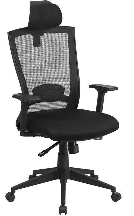 Flash Furniture High Back Black Mesh Executive Swivel Chair with Back Angle Adjustment and Adjustable Arms