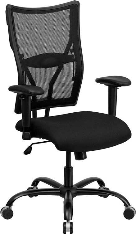 Flash Furniture HERCULES Series Big & Tall 400 lb. Rated Black Mesh Executive Swivel Chair with Adjustable Arms