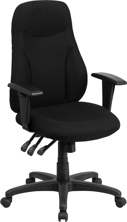 Flash Furniture High Back Black Fabric Multifunction Ergonomic Swivel Task Chair with Adjustable Arms