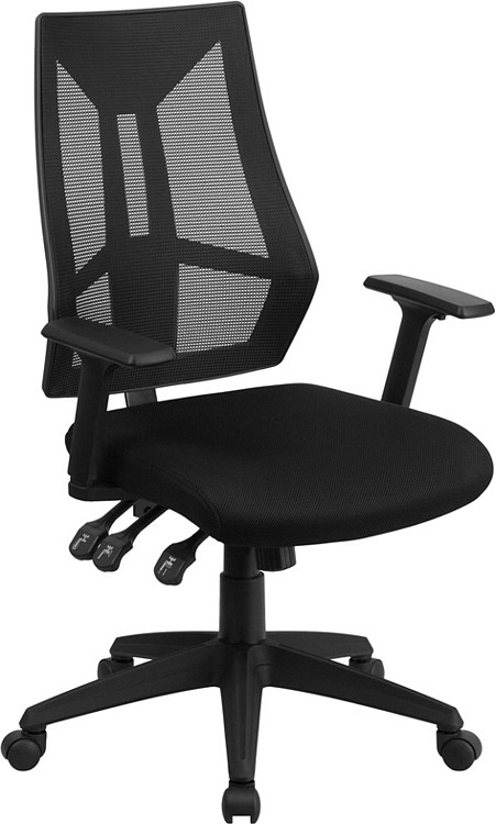 Flash Furniture High Back Black Mesh Multifunction Swivel Task Chair with Adjustable Arms