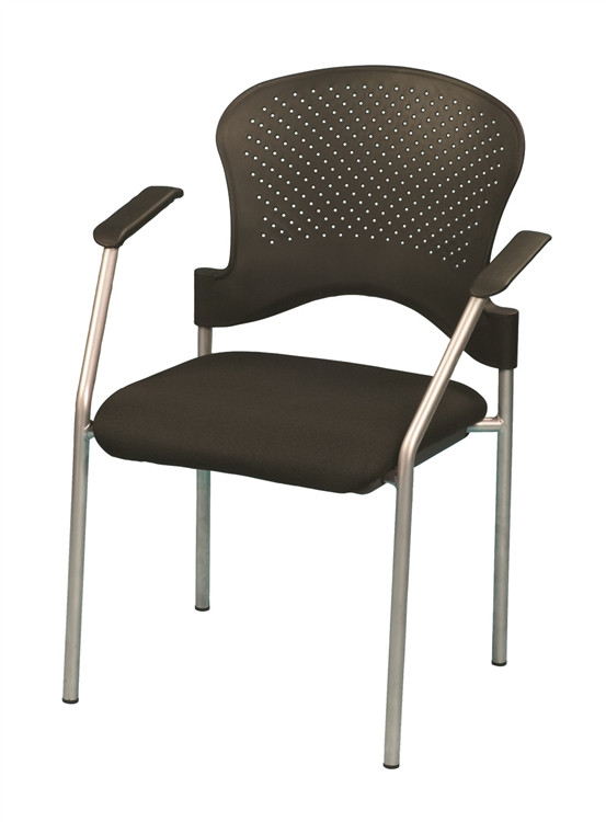 Eurotech Breeze Gray Frame Side Chair no Casters in Black