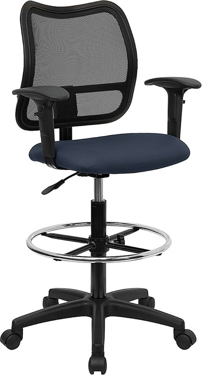 Flash Furniture Mid-Back Navy Blue Mesh Drafting Chair with Adjustable Arms