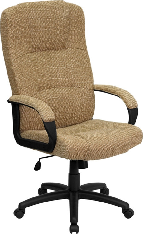 Flash Furniture High Back Beige Fabric Executive Swivel Chair with Arms