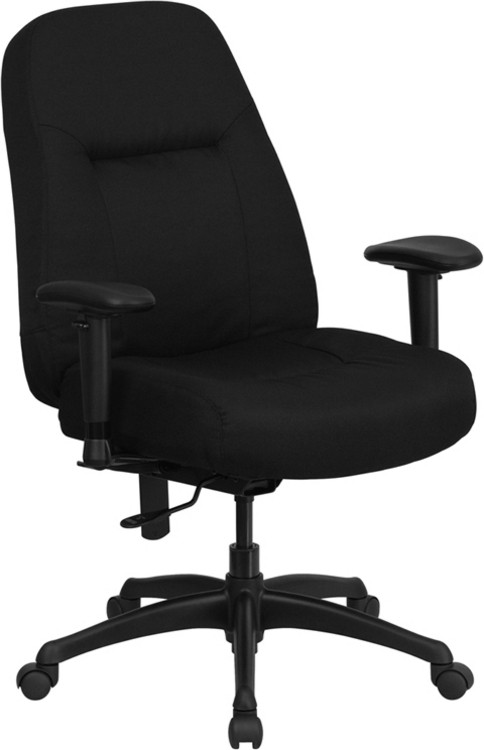 Flash Furniture HERCULES Series 400 lb. Rated High Back Big & Tall Black Fabric Executive Swivel Chair with Adjustable Arms