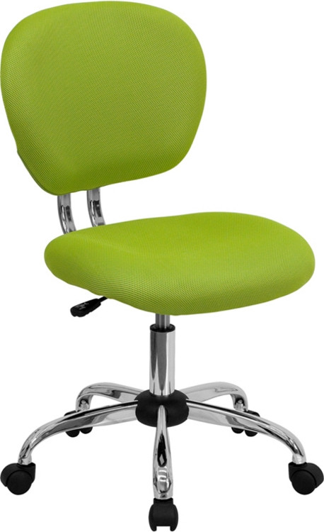 Flash Furniture Mid-Back Apple Green Mesh Swivel Task Chair with Chrome Base