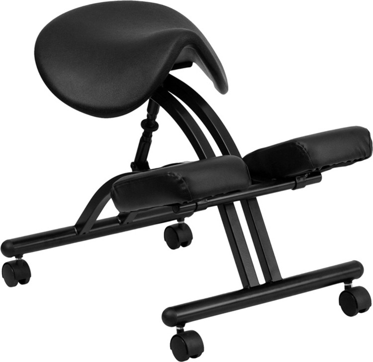 Flash Furniture Ergonomic Kneeling Chair with Black Saddle Seat