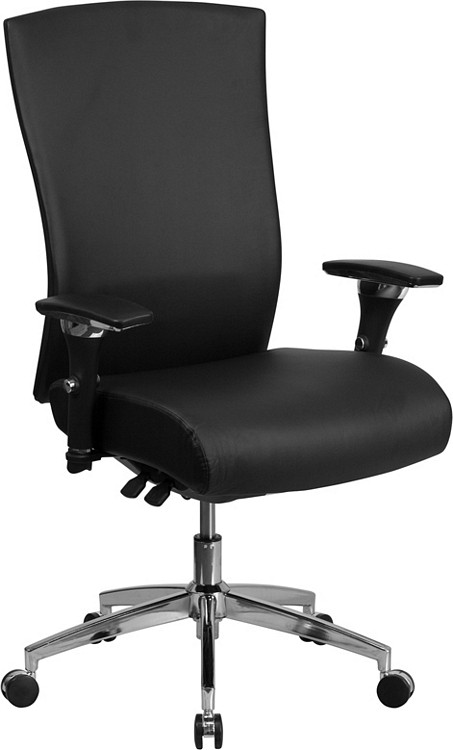 Flash Furniture HERCULES Series 24/7 Intensive Use 300 lb. Rated Black Leather Multifunction Executive Swivel Chair with Seat Slider 1