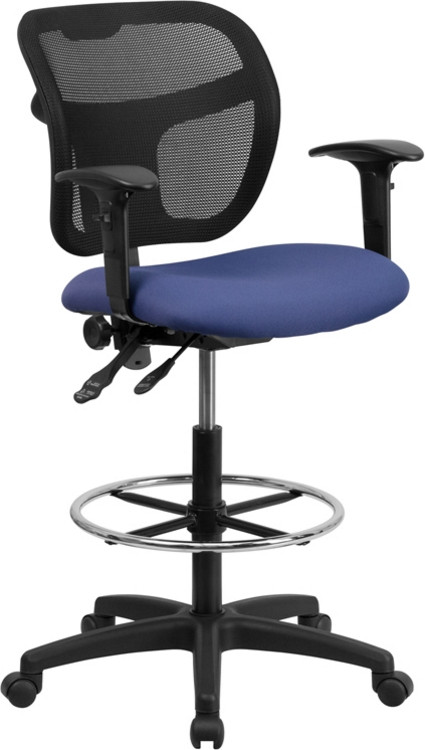 Flash Furniture Mid-Back Navy Blue Mesh Drafting Chair with Adjustable Arms 1