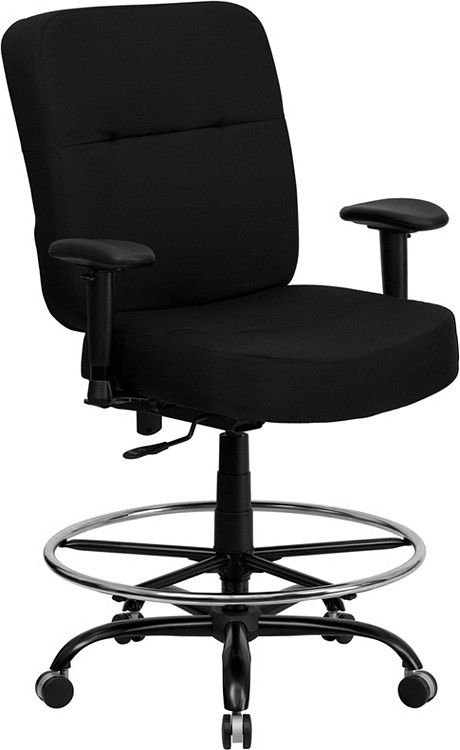Flash Furniture HERCULES Series Big & Tall 400 lb. Rated Black Fabric Drafting Chair with Adjustable Arms 1