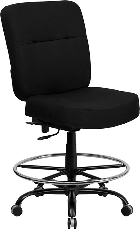 Flash Furniture HERCULES Series Big & Tall 400 lb. Rated Black Fabric Drafting Chair 1