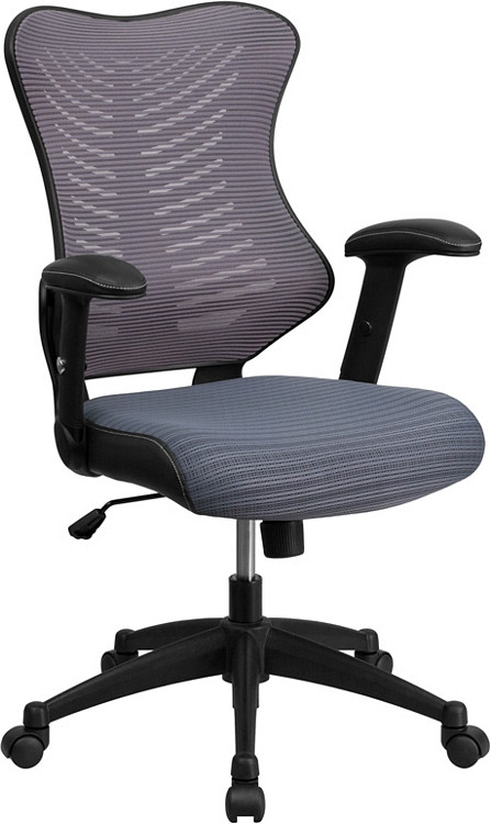 Flash Furniture High Back Designer Gray Mesh Executive Swivel Chair with Adjustable Arms