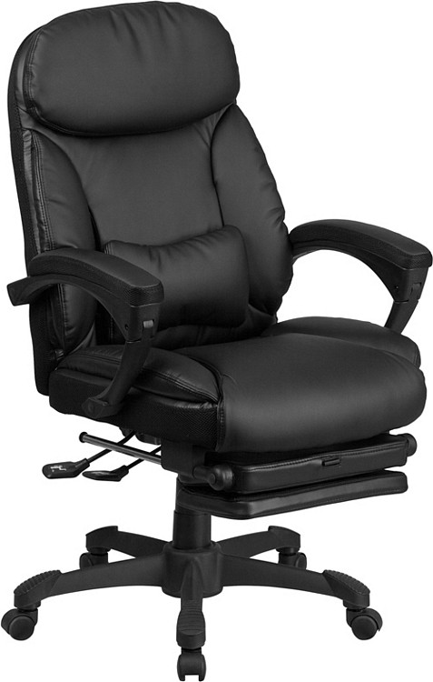 Flash Furniture High Back Black Leather Executive Reclining Swivel Chair with Comfort Coil Seat Springs and Arms