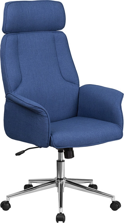 Flash Furniture High Back Blue Fabric Executive Swivel Chair with Chrome Base and Fully Upholstered Arms