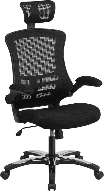 Flash Furniture High Back Black Mesh Executive Swivel Chair with Chrome Plated Nylon Base and Flip-Up Arms