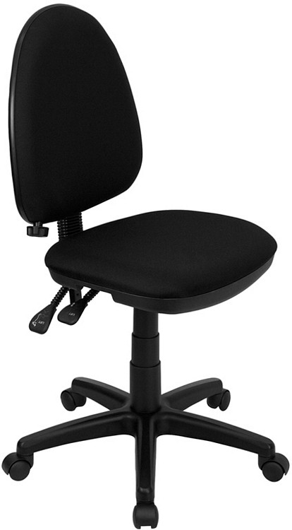 Flash Furniture Mid-Back Black Fabric Multifunction Swivel Task Chair with Adjustable Lumbar Support
