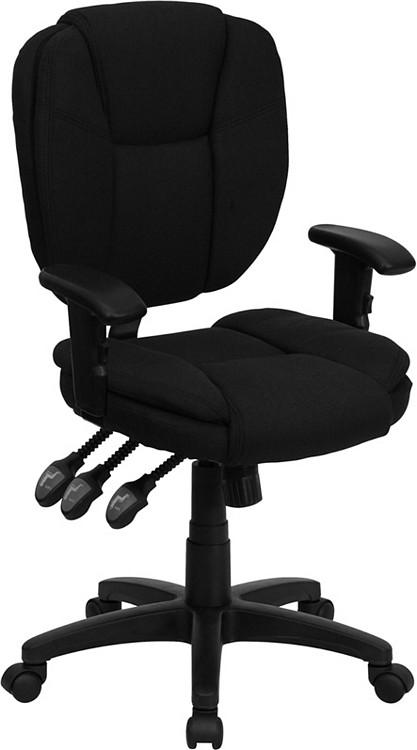Flash Furniture Mid-Back Black Fabric Multifunction Ergonomic Swivel Task Chair with Adjustable Arms 2