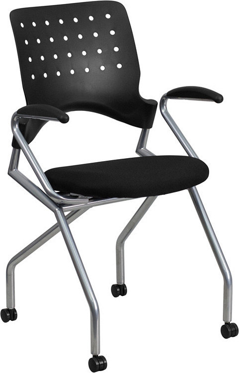 Flash Furniture Galaxy Mobile Nesting Chair with Arms and Black Fabric Seat