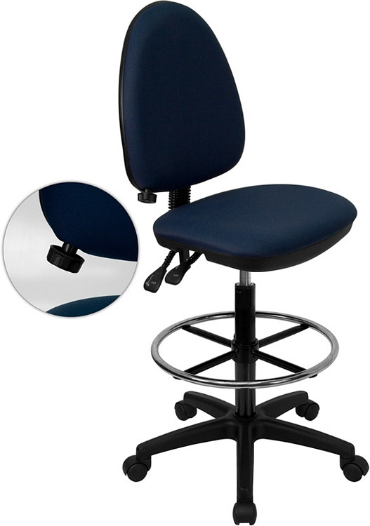 Flash Furniture Mid-Back Navy Blue Fabric Multifunction Drafting Chair with Adjustable Lumbar Support