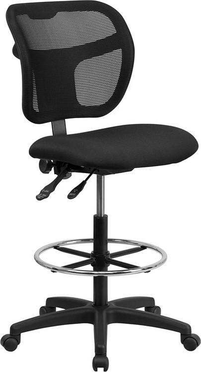 Flash Furniture Mid-Back Black Mesh Drafting Chair 1