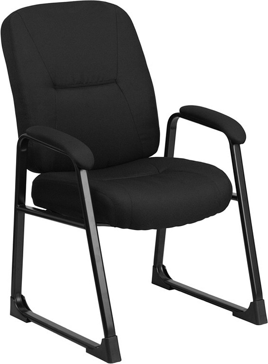 Flash Furniture HERCULES Series Big & Tall 400 lb. Rated Black Fabric Executive Side Chair with Sled Base