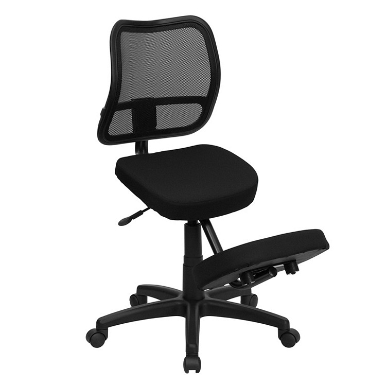 Flash Furniture Mobile Ergonomic Kneeling Swivel Task Chair with Black Mesh Back