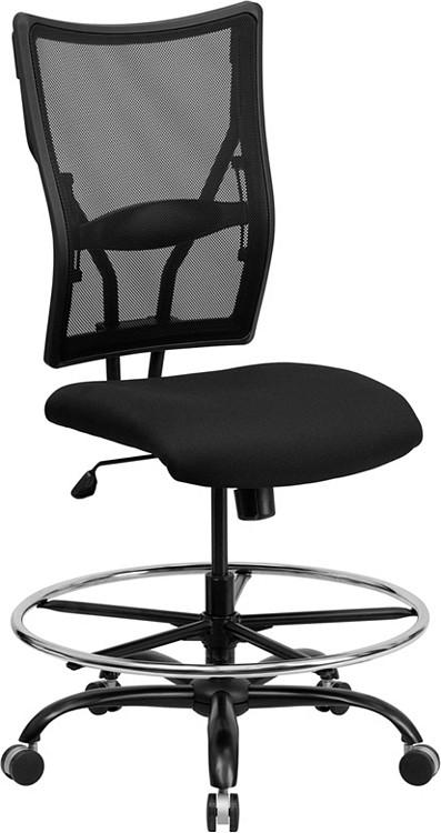 Flash Furniture HERCULES Series Big & Tall 400 lb. Rated Black Mesh Drafting Chair