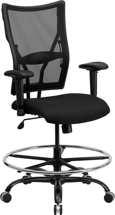 Flash Furniture HERCULES Series Big & Tall 400 lb. Rated Black Mesh Drafting Chair with Adjustable Arms
