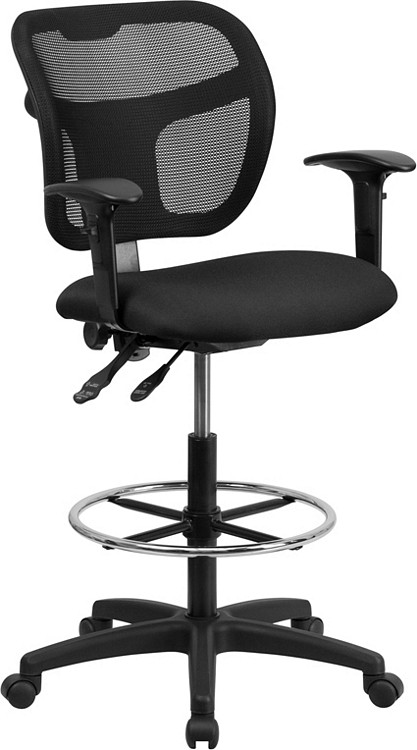 Flash Furniture Mid-Back Black Mesh Drafting Chair with Adjustable Arms 1