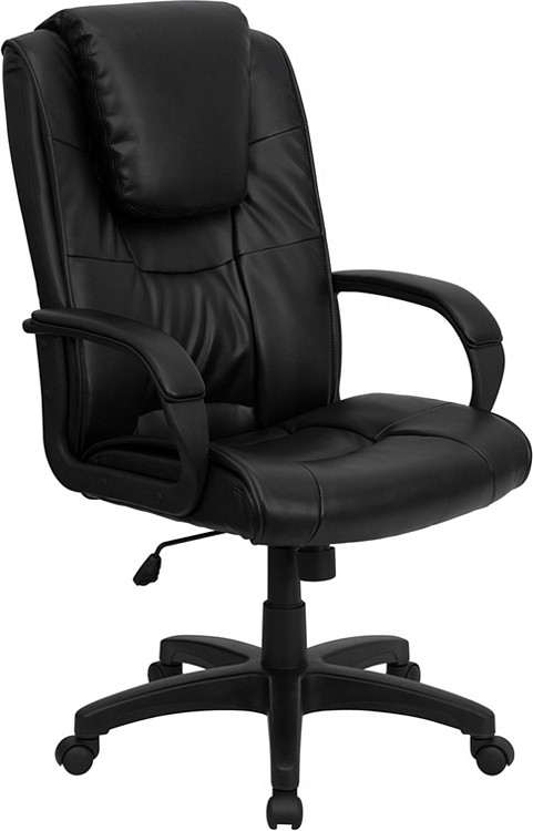 Flash Furniture High Back Black Leather Executive Swivel Chair with Arms 12