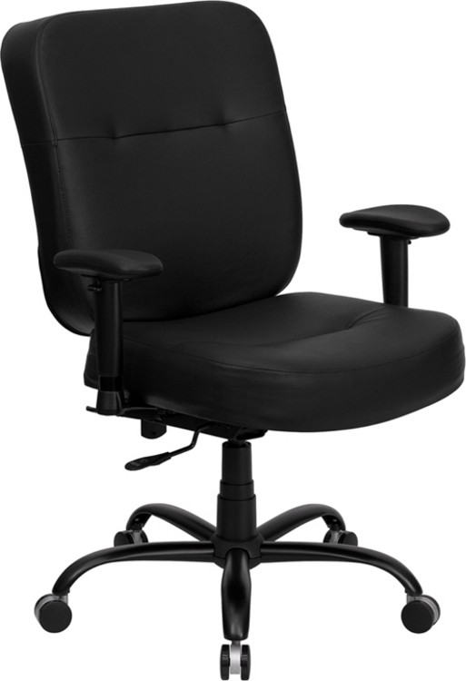 Flash Furniture HERCULES Series Big & Tall 400 lb. Rated Black Leather Executive Swivel Chair with Adjustable Arms 2