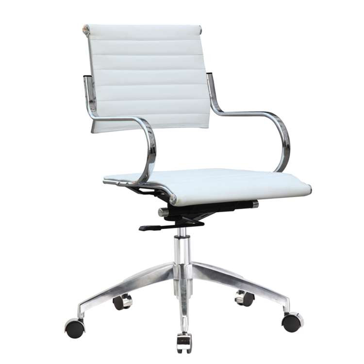 Fine Mod Flees Office Chair Mid Back, White