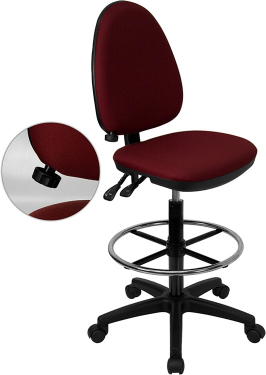 Flash Furniture Mid-Back Burgundy Fabric Multifunction Drafting Chair with Adjustable Lumbar Support