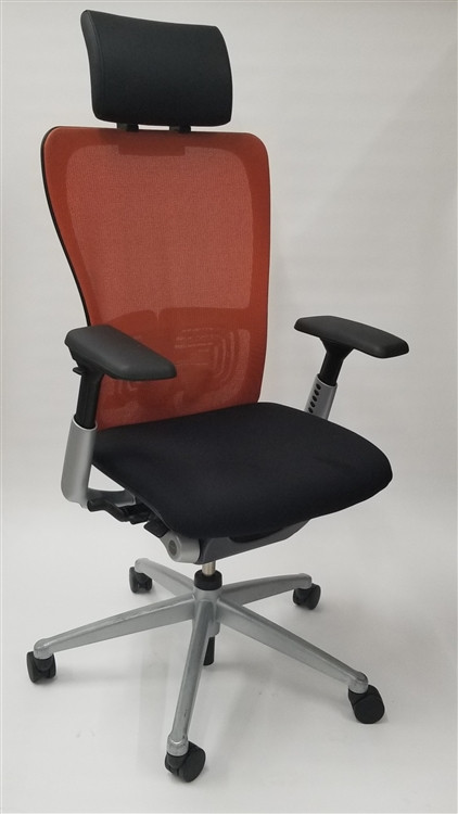 Haworth Zody Chair Mesh Back Fully Adjustable Model in Orange/Black
