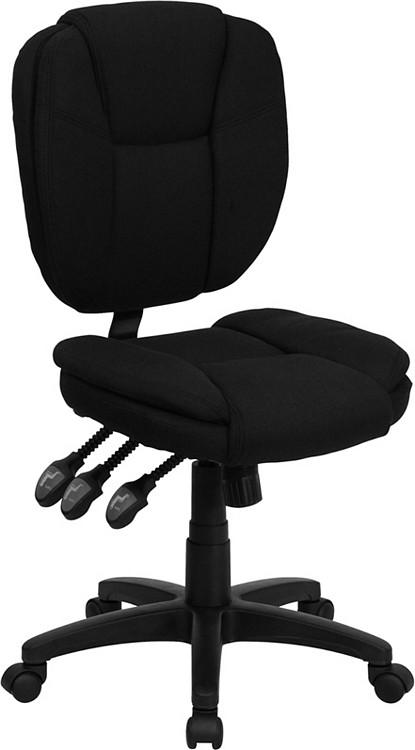 Flash Furniture Mid-Back Black Fabric Multifunction Ergonomic Swivel Task Chair 2
