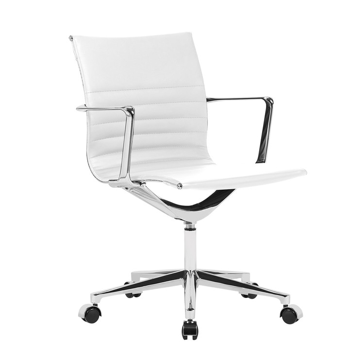 Fine Mod Em Office Chair Mid Back, White