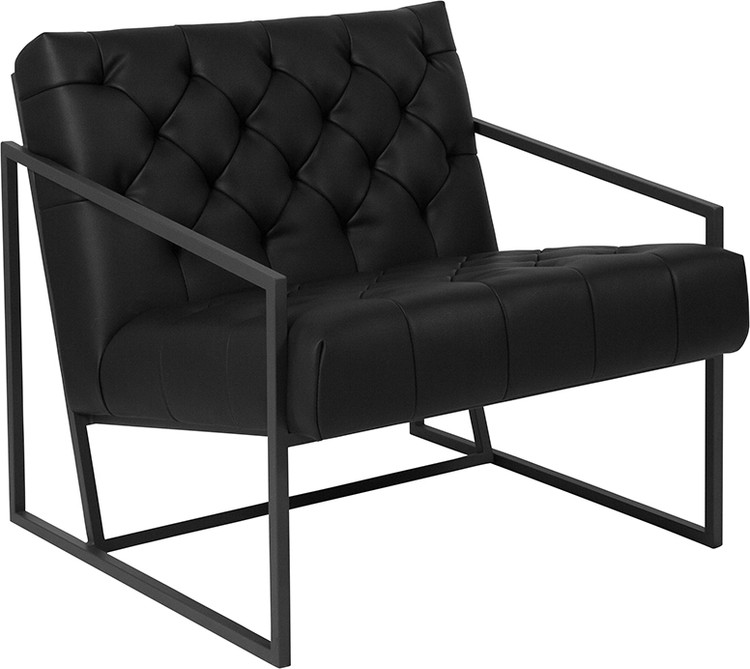 Lemoderno Madison Series Black Leather Tufted Lounge Chair