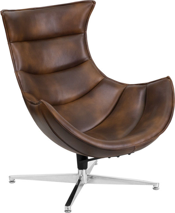 Lemoderno Bomber Jacket Leather Swivel Cocoon Chair