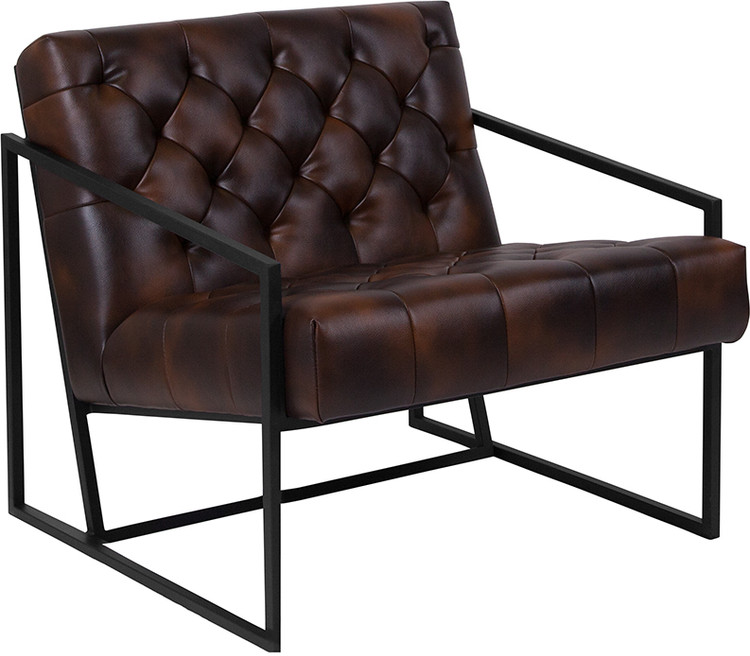 Lemoderno Madison Series Bomber Jacket Leather Tufted Lounge Chair